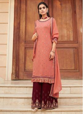 Resham Faux Georgette Designer Palazzo Salwar Kameez in Peach