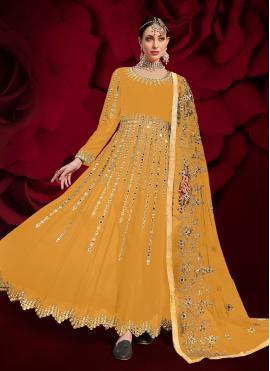 Resham Faux Georgette Floor Length Anarkali Suit in Yellow