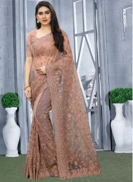 Resham Net Classic Designer Saree in Brown