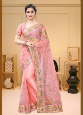 Resham Net Contemporary Saree in Pink