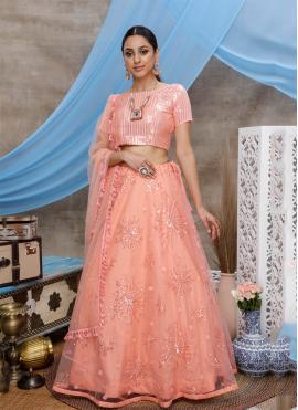 Resham Net Designer Lehenga Choli in Peach