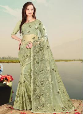 Resham Net Designer Saree in Green