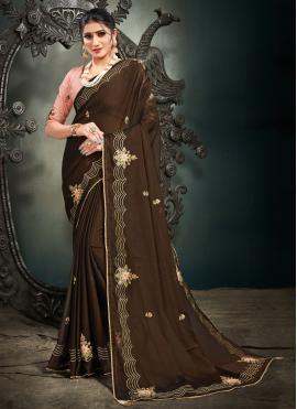 Resham Satin Designer Saree in Brown
