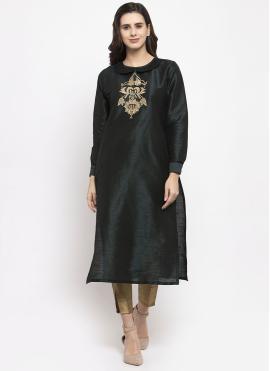 Resplendent Black Plain Dupion Silk Readymade Salwar Kameez