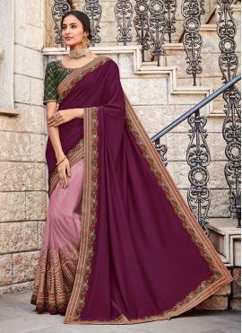 Resplendent Zari Georgette Satin Pink Designer Saree