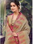 Riveting Beige Weaving Silk Designer Traditional Saree - 1