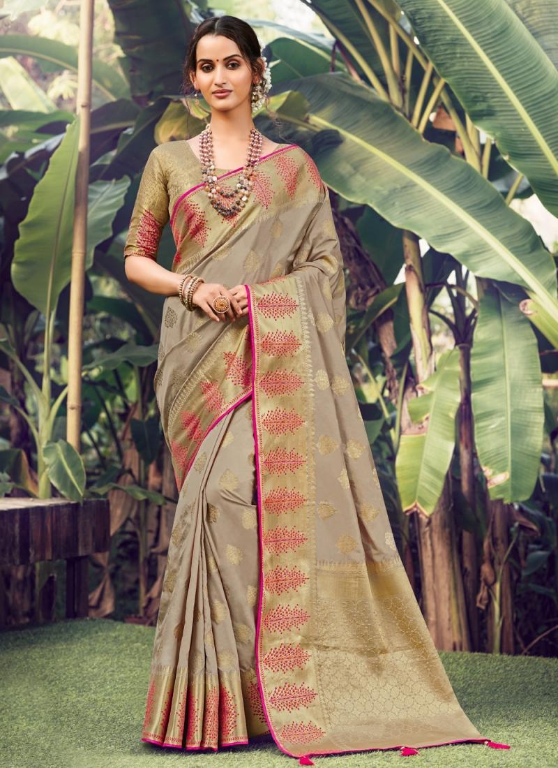Riveting Beige Weaving Silk Designer Traditional Saree