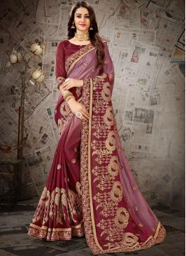Riveting Embroidered Faux Chiffon Designer Saree