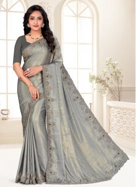 Riveting Embroidered Grey Classic Designer Saree