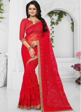 Riveting Red Embroidered Net Classic Designer Saree