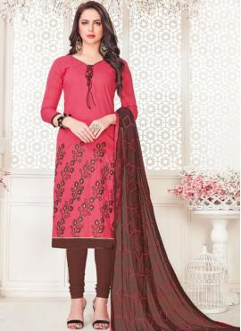 Rose Pink Embroidered Cotton   Churidar Suit