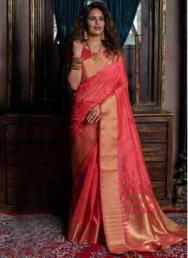 Rose Pink Weaving Festival Designer Traditional Saree