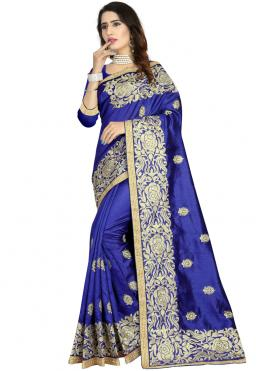 Royal Art Silk Embroidered Blue Classic Designer Saree