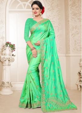Royal Art Silk Embroidered Green Designer Traditional Saree