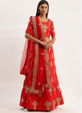 Royal Art Silk Embroidered Red Lehenga Choli