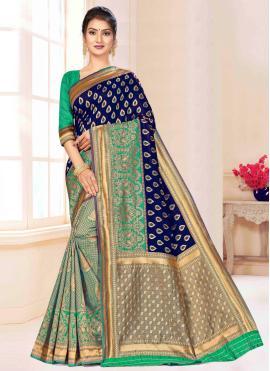Royal Blue and Green Contemporary Saree