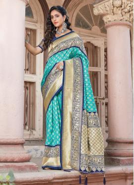 Royal Blue Weaving Silk Traditional Designer Saree