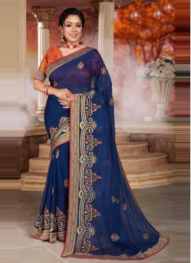 Rupali Ganguly Patch Border Blue Designer Saree