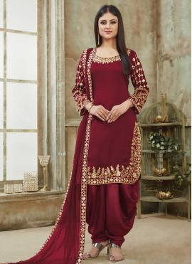 Ruritanian Embroidered Art Silk Maroon Designer Patiala Suit