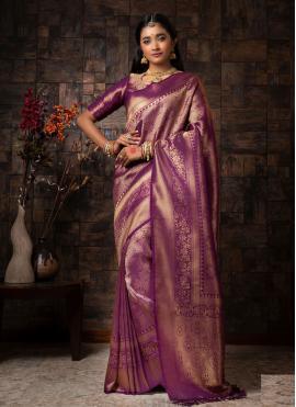 Ruritanian Raw Silk Purple Fancy Designer Traditional Saree