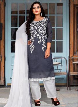 Salwar Suit Embroidered Chanderi Cotton in Grey
