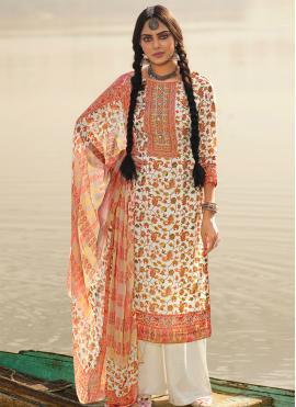 Salwar Suit Printed Pashmina in Off White