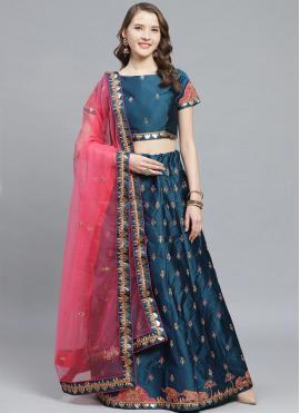Satin Blue Bollywood Lehenga Choli