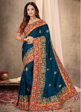 Satin Blue Classic Designer Saree