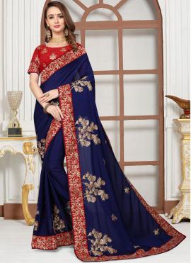 Satin Blue Classic Saree