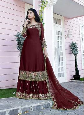 Satin Embroidered Designer Pakistani Suit in Maroon