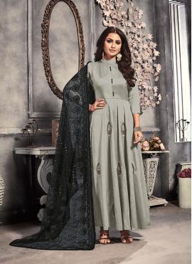 Satin Embroidered Grey Trendy Anarkali Suit