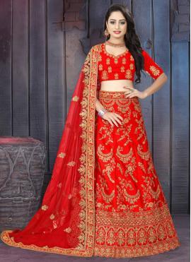 Satin Embroidered Red Lehenga Choli