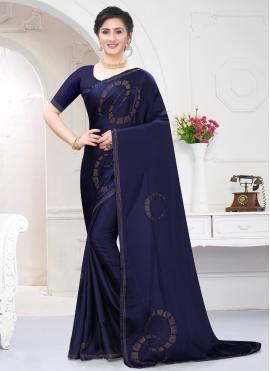 Satin Navy Blue Stone Work Classic Designer Saree