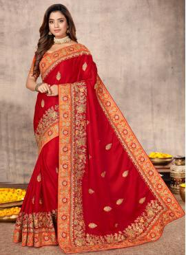 Satin Patch Border Red Classic Designer Saree
