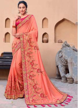 Satin Pink Contemporary Saree