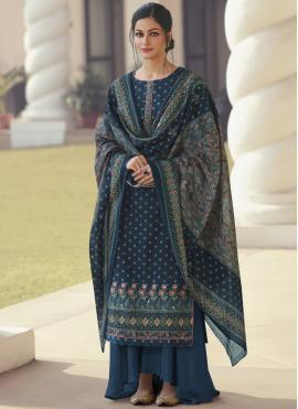 Satin Printed Navy Blue Designer Palazzo Suit