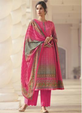 Satin Printed Pink Designer Palazzo Salwar Kameez