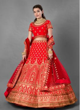 Satin Sequins A Line Lehenga Choli in Red