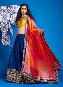 Satin Silk Blue A Line Lehenga Choli