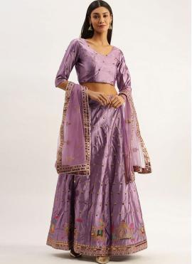 Satin Silk Embroidered Lehenga Choli in Purple