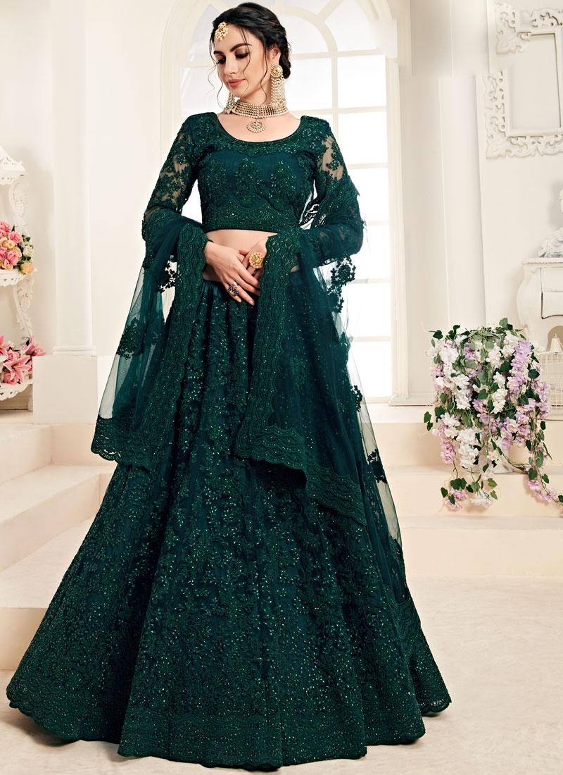 Satin Silk Green Embroidered Trendy A Line Lehenga Choli