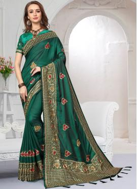 Satin Silk Green Resham Designer Saree