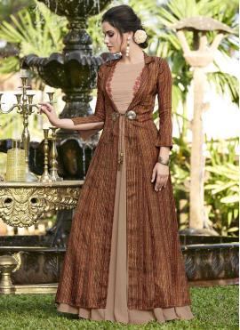 Satin Silk Print Designer Gown in Brown