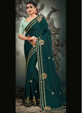 Satin Silk Rama Embroidered Designer Traditional Saree