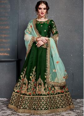 Satin Silk Stone Work Designer Lehenga Choli in Green