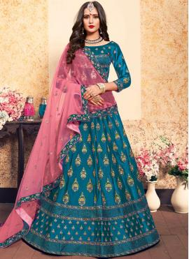 Satin Stone Blue Trendy Lehenga Choli