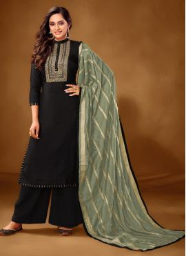 Savory Black Embroidered Cotton Lawn Designer Pakistani Salwar Suit