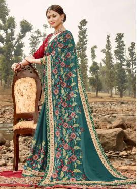 Savory Embroidered Silk Classic Saree