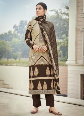 Savory Faux Crepe Multi Colour Designer Palazzo Suit