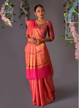 Savory Pink Weaving Silk Traditional Designer Saree